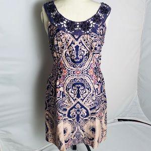 Free People purple/cream crochet neck dress